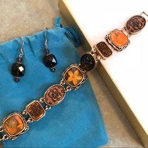 Jewelry - Crystal Bead Earrings & Goldtone Flower Bracelet